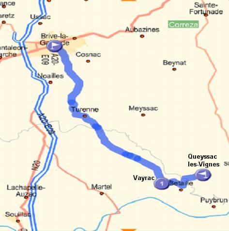 itinéraire depuis Brive